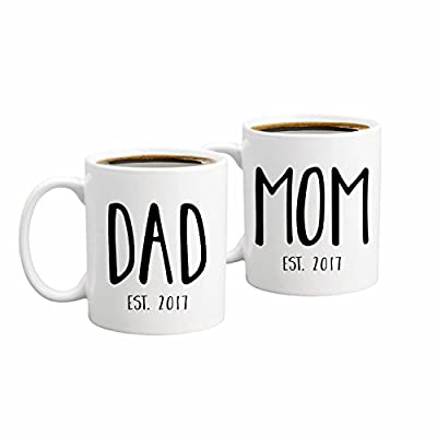New Parents Pregnancy Announcement Coffee Mug Set 11oz - Unique Gift For Parents To Be - Perfect Present For Baby Showers - Mom and Dad Gift