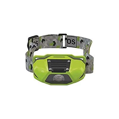 Les emos 1456électronique, lampe frontale 3W + 2LED, pour 1x AA, plastique, Green, 4x 6, 8x 3cm