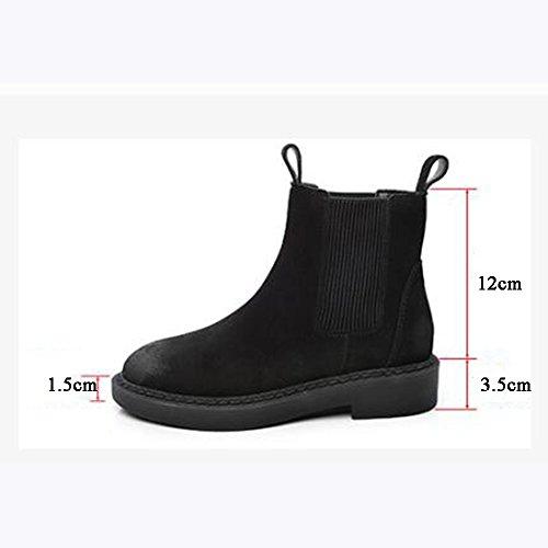 sexy Women's Boots Flat Nubuck Black ArmyGreen Short Boots British Style Outdoor (Color : Black - thin, Size : EU39/UK6/CN39) Black - Thin