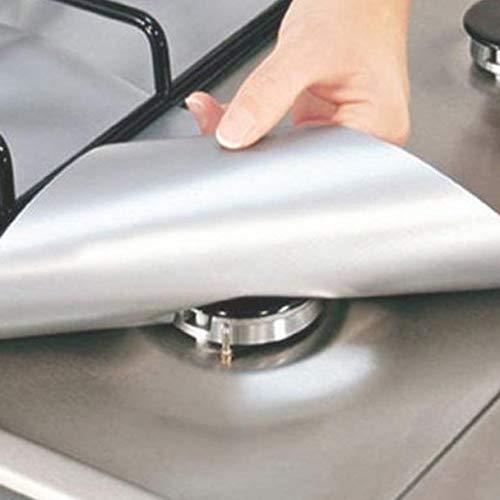 4PCS Kitchen Reusable Aluminum Foil Gas Stove Burner Cover Protector Liner Clean Mat Pad by AdvancedShop (White)