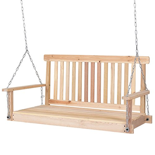 Wooden Swing Outdoor - Giantex 4 FT Porch Swing with Chain Natural Wood Garden Swing Seat Patio Hanging Seat