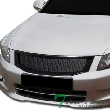 (Topline Autopart Black Aluminum Mesh Front Hood Bumper Grill Grille Cover Abs 08-10 Accord 4D 4Dr)