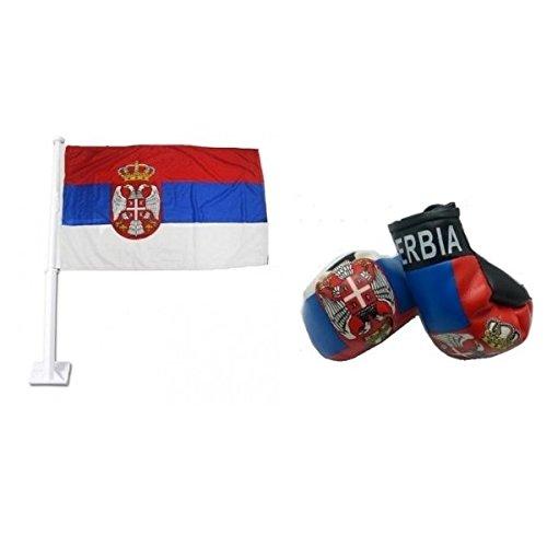 Serbia Car Flag & Miniボクシンググローブコンボパック B07DCY9KJM