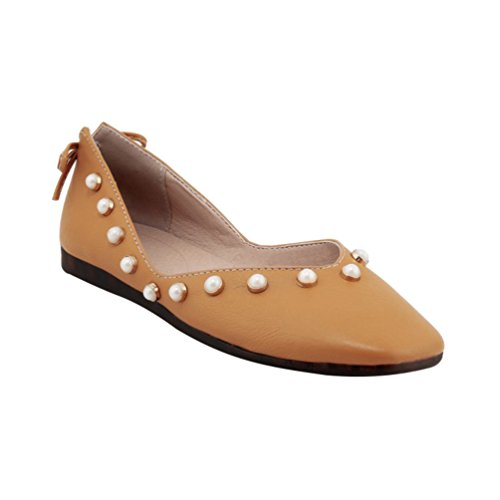 YOUJIA Womens Beaded Pumps Dolly Flats Square-Toe Flaty Office Slip On Casual Shoes Yellow