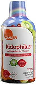 Zahler Kidophilus Liquid, Advanced Kids Probiotics, Acidophilus Supplement for Childern,Over One Billion Live Cultures and Intestinal Flora, Great Tasting Fruit Punch Flavor, Certified Kosher,16oz
