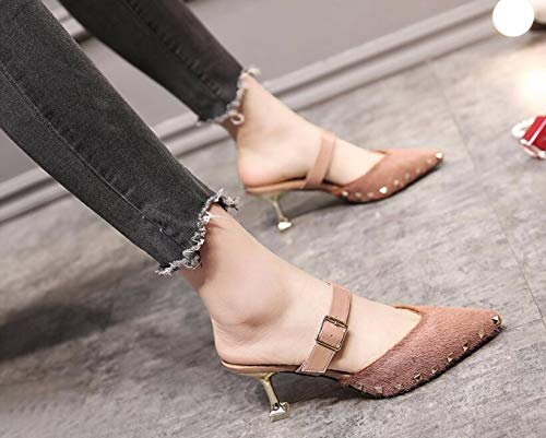 Wear Thirty KPHY Heel Summer Fine Heel Spring Pointed Five Towing Pink 6Cm High Heel Sexy Shallow Small Mouth Shoes Shoes Cold Rivets Outside And 1WPWn