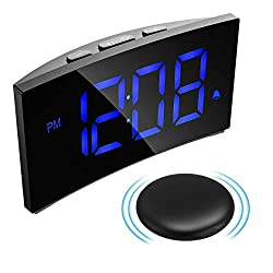 Digital Alarm Clock with Wireless Bed Shaker, Vibrating Alarm Clock for Heavy Sleeper, 3 Alarm Sounds, 5'' LED Display, 5 Dimmer, Snooze Function, Easy Setting for Kid Senior, Blue