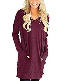 57d5bf9edfc Womens Casual Long Sleeves Solid V-Neck Tunics Shirt Tops with Pockets