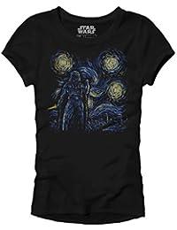 Darth Vader Starry Night Vincent Van Gogh Adult Women's Juniors Slim Fit Graphic Tee Apparel T-Shirt