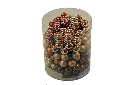Dekokugeln//Tischdeko//Christbaum//Weihnachten Gold, /Ø 2cm Hochwertige /& Dekorative Glas Spiegelbeeren am Draht 144 St/ück Sortiert Gl/änzend /& Matt