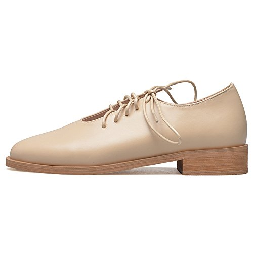 Nine Seven Genuine Leather Womens Pointed Toe Low Heel Comfortable Dressy Handmade Lace-up Oxford Shoes Apricot gb6rY
