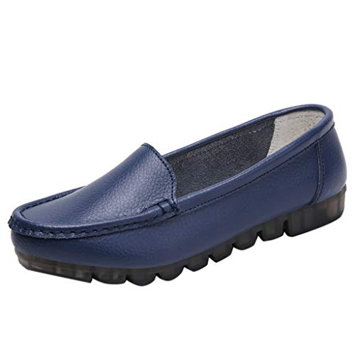 Women Soft Leather Loafers Moccasins 2019 New Comfort Flat Oxfords Breathable Shoes Driving Walking Shoes (US:5, Dark Blue)