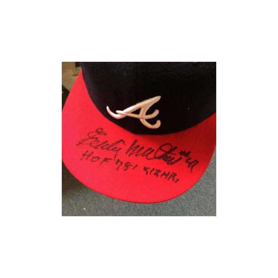 Eddie Mathews #41 HOF 1978 512 Home Runs Signed Atlanta Braves Hat COA JSA Certified Autographed Hats