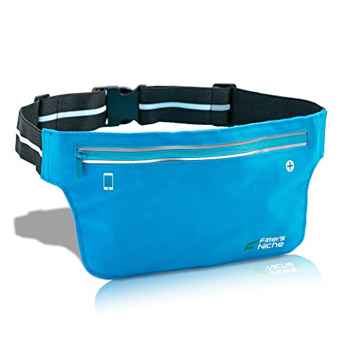(fitter's niche Ultra Slim Fanny Waist Pack Running Belt, Water Resistant Lightweight Bounce Free Fitness Workout Exercise Pouch Bag for iPhone Xs 8 Samsung Note in Biking Walking Hiking Gym Sports)