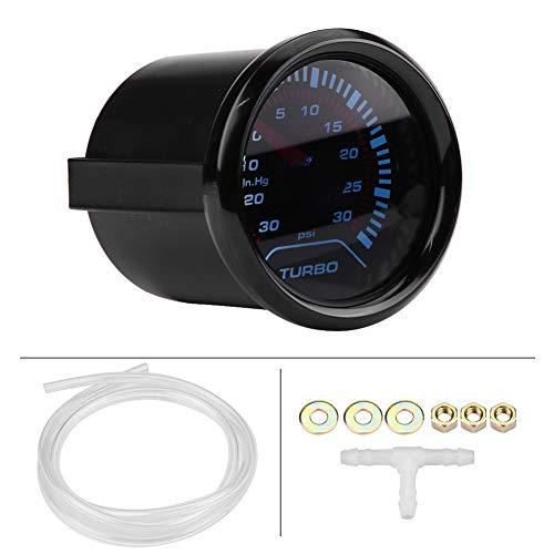 Qiilu Turbo Boost Gauge, Universal 52mm Car Smoke Dial Face Turbo Boost Turbocharged Pressure Gauge Aluminum Alloy: