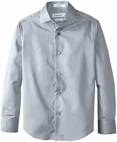 Calvin Klein Big Boys' Long Sleeve Sateen Dress Shirt