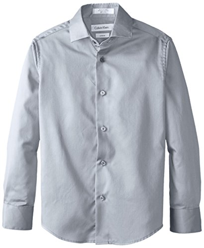 Collar Dress Suit - Calvin Klein Big Boys' Long Sleeve Sateen Dress Shirt, Grey, 16