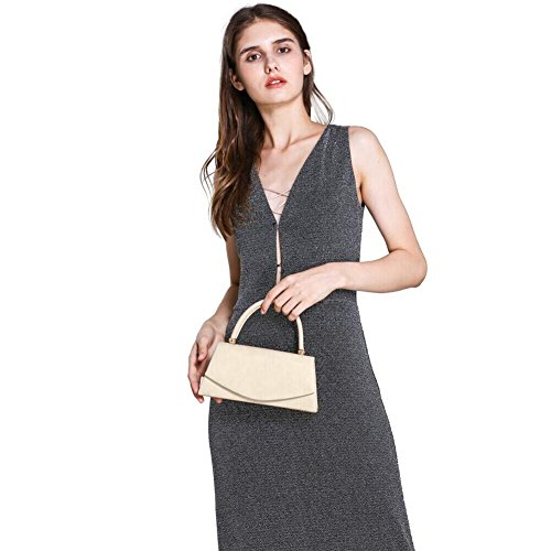 Purse Prom Women's Clutch Evening Velvet Wedding Envelope Suede Bag Beige Handbag Party WALLYN'S Classic xq7wTqAY