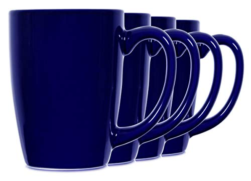 14oz Blue Mugs for Coffee or Tea. Large Handles Mugs, Set of 4 by ()