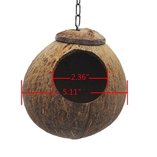 Natural Coconut Shell Bird Nest House Hut for Pet Parrot Budgies Parakeet Cockatiels Conure Canary Finch Pigeon Cage Hamster Rat Gerbil Mice Cage Seed Feeder Toy Nesting Box