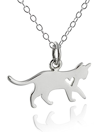 FashionJunkie4Life Sterling Silver Kitty Cat Silhouette Charm Necklace with Heart Cutout, 18