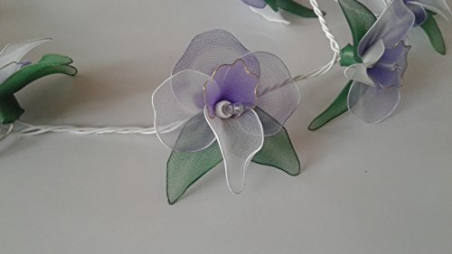 Price comparison product image GaanZaLive36 Handmade 20 Romantic Orchid Flower Fairy String Lights Patio Wedding Party Vanity Kid Wall Lamp Floral Home Decor 3m (Green Purple)