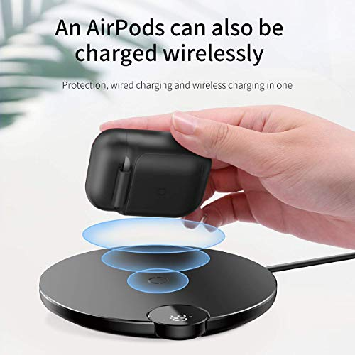 Airpods Wireless Charging Case,Wireless Charging Receiver for Airpod Airpod Compatible Qi Charging Lightning Adapter Sleeve Silicone Case Cover with Any Qi Wireless Charger Red