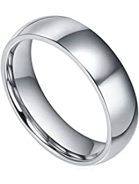 king will basic mens 6mm high polished comfort fit domed tungsten carbide ring wedding band