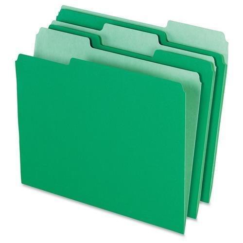 Pendaflex File Folder, AST 1/3 Tab Cut, Letter-Size, 100/BX, Green (152-1/3BGR) ()