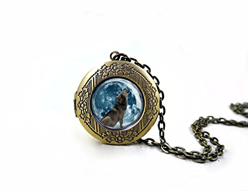 Little Gem Girl Glow in The Dark Howling Wolf Full Moon Locket Necklace Vintage Bronze Glowing Charm W/uv Flashlight