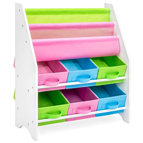 Best Choice Products Kids Furniture Toy and Bookcase Storage Shelf Organizer w/ 3 Book Shelves, 6 Fabric Storage Bins - Multi ()