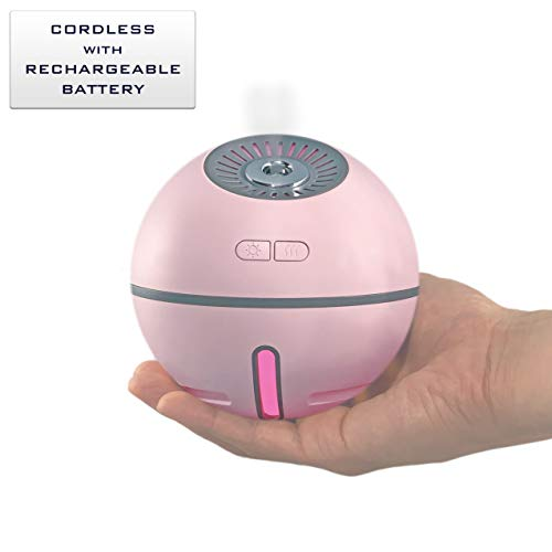 (Neossun Cordless Rechargeable Humidifier 2000 mAh Battery 12 Hours Use Time or USB Operated 300 ml Multicolor LED Light Travel Size Whisper-Silent Portable Wireless for Home Office Baby Camping Pink)