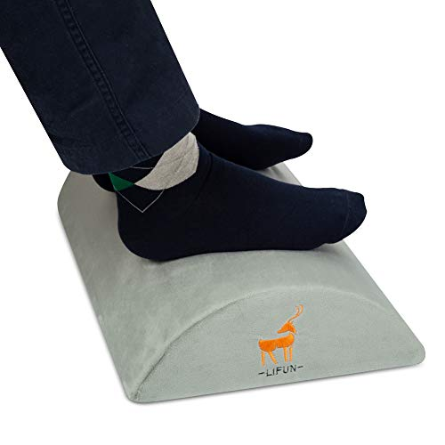 Foot Rest Under Desk, Foot Stool Premium Quality Soft Foam Office Ottoman, Cushion Non-Slip Surface and Ergonomic Comfortable Design, Machine Washable, Improves Leg Circulation and Back Pain