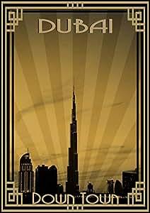 Photo Of Dubai Skyline Down Town - Sepia With Gold Border, Mounted (a2)