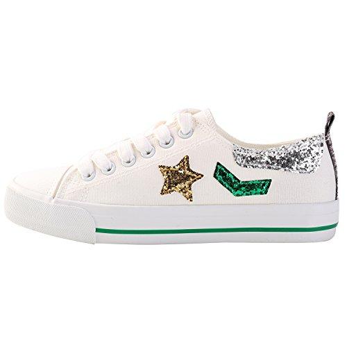 Alexis Leroy Zapatillas de estilo?Zapatos cordones para Mujer Blanco