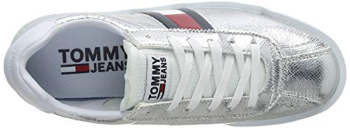 Jeans Metallic Light Retro Silver Women's 000 Silver Low Top Tommy Sneakers fqOwgPBO