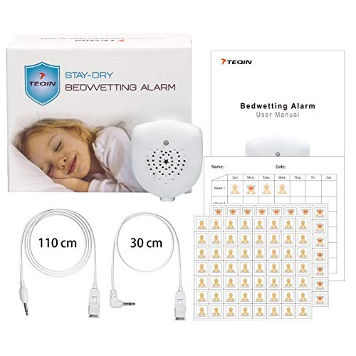 TEQIN Bedwetting Alarm for Kids, Rechargeable, Volume Control, Music Optional and Strong Vibration