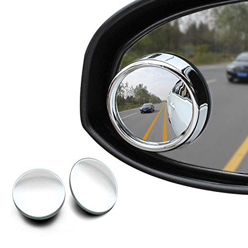 GOODYBUY Blind Spots Mirror, HD Glass Frameless Convex Rear View Mirror for All Cars, 360°Rotatable + 30°Sway Adjustable, Pack of 2