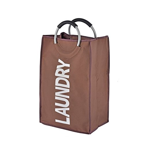 Large Laundry Tote Hamper Collapsible Laundry Basket Foldable Clothes Bag Folding Washing Bin (Coffee)