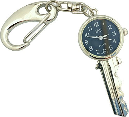 Charm Silver Chain Ladies Watch (JAS Unisex Novelty Belt Fob/Keychain Watch Key Silver Tone - Black Dial)