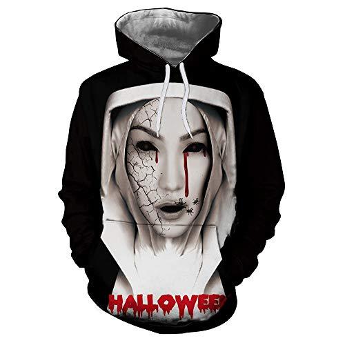 TWGONE Halloween Womens Tops Couples Shirts Casual Autumn Winter 3D Printing Long Sleeve Hoodies Sweatshirt Blouse(US-10/CN-2XL,Black)
