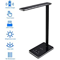 ZOESON LED Desk Light, Table Lamp with USB Charging Port Qi Wireless Charger Pad, Brightness Adjustable and Foldable
