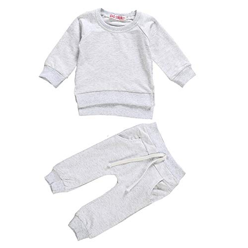Newborn Baby Boy Girl 2Pcs Clothes,Long Sleeve Shirt Tops Sweatsuit Pants with Pockets Outfit Set (Light Grey, 0-3M)