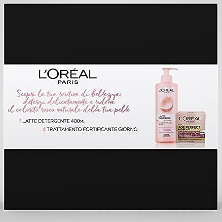 L 'Oréal Paris – Caja de regalo de 2 unidades, crema facial día de edad Perfect Golden Age 50 ml, leche desmaquillante flores raras