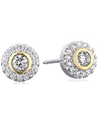 18k Yellow Gold Plated Sterling Silver Two-Tone Cubic Zirconia Halo Stud Earrings (1/2 cttw)