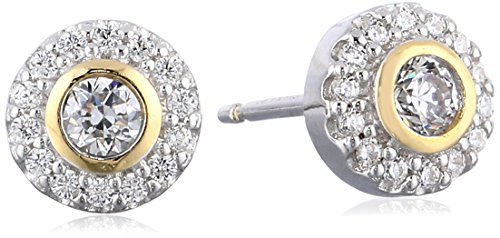 Yellow Sterling Two Tone Zirconia Earrings