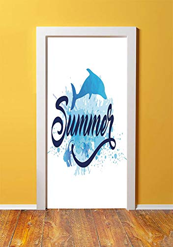 Dolphin 3D Door Sticker Wall Decals Mural Wallpaper,Abstract Summer Lettering with Fish and Dolphin with Color Splashes Image Decorative,DIY Art Home Decor Poster Decoration 30.3x78.3927,Dark Blue Pal