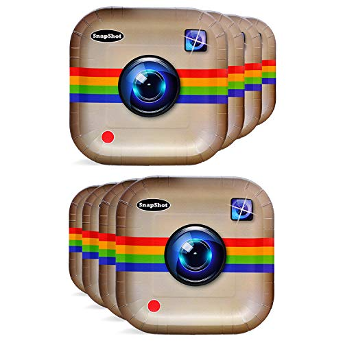 Havercamp Camera Party Plates - Social Media Decor for Parties - 8 Paper Plates Pack 9