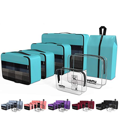 YAMIU Packing Cubes 7-Pcs Travel Organizer Accessories with Shoe Bag & 2 Toiletry Bags(Blue) -
