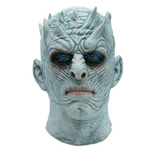 Dog Walker Halloween Costume (Movie Game of Thrones Night's King Mask White Walker Mask Halloween Realistic Scary Cosplay Costume Party Props Mask for Men and)